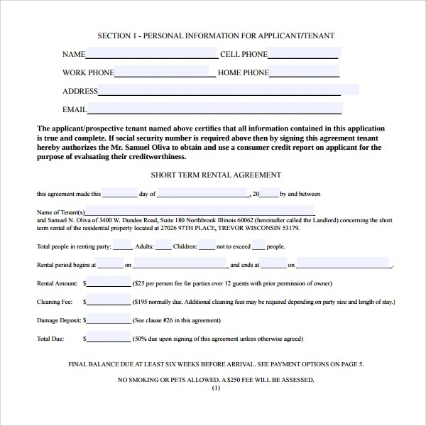 Sample Rental Agreement Short Term – Sample Short Term Rental Agreement