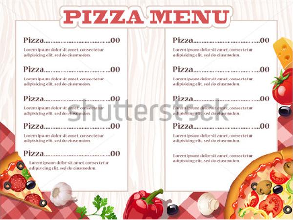 Event Menu Template – Sample Pizza Menu Template