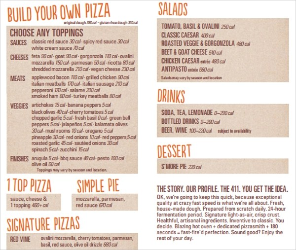 Nice Sample Pizza Menu Template Embellishment - Best Resume Examples - Sample Pizza Menu Template