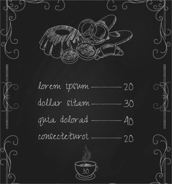 Sample Bakery Menu Template - 15+ Download Documents in PDF, PSD - sample chalkboard menu template