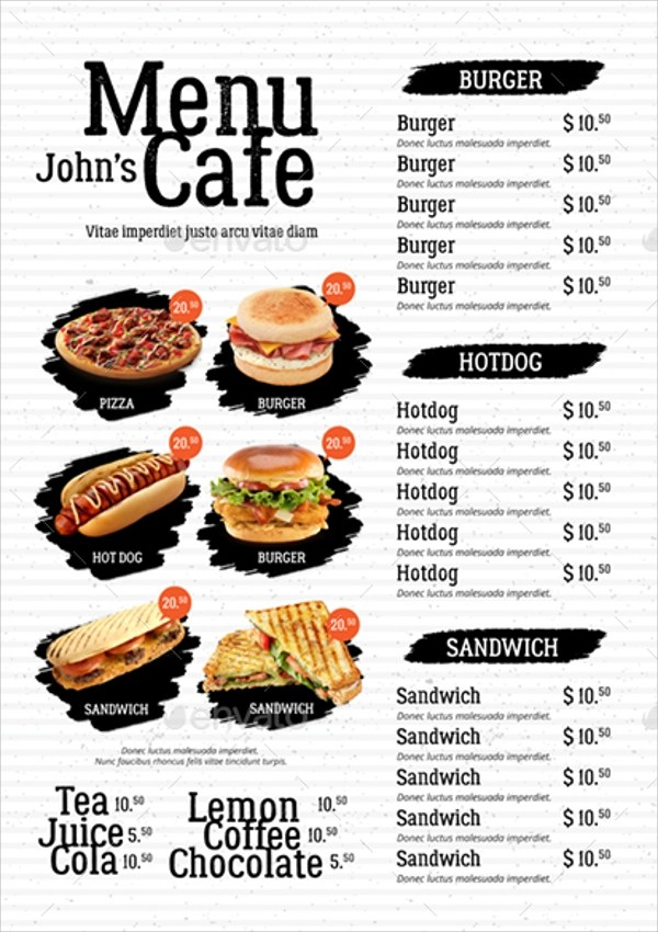 20+ Sample Cafe Menu Templates Sample Templates - Cafe Menu Template