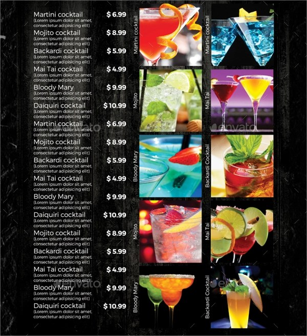 21+ Sample Drink Menu Templates Sample Templates - Free Drink Menu Template