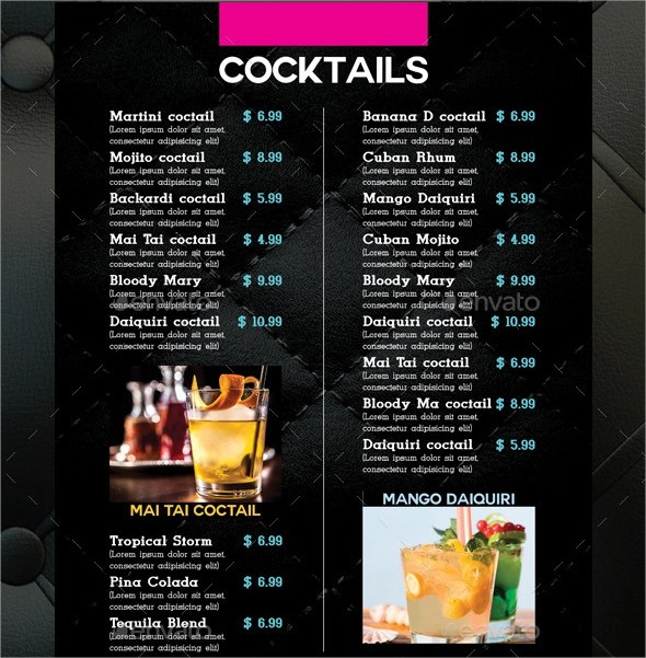 21+ Sample Drink Menu Templates Sample Templates