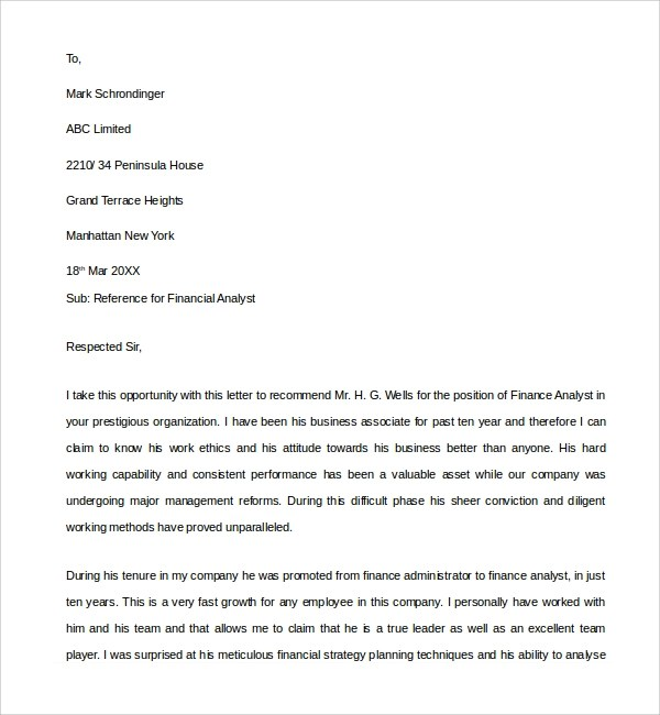 7 Financial Reference Letter Templates to Download Sample Templates