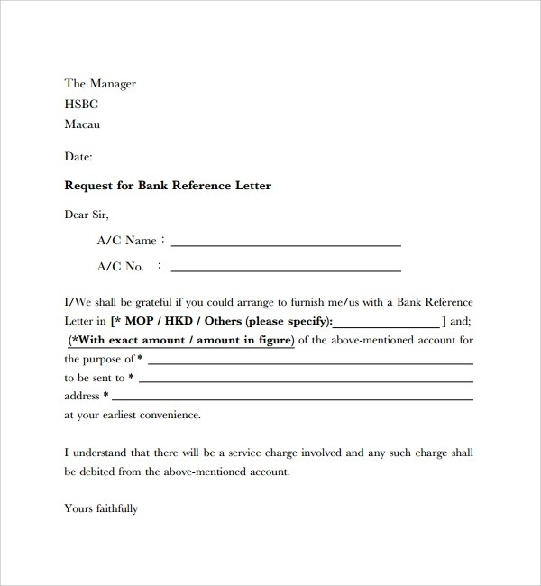 Bank Reference Letter Sample Format Sample Financial Reference Letter Template 6 Free