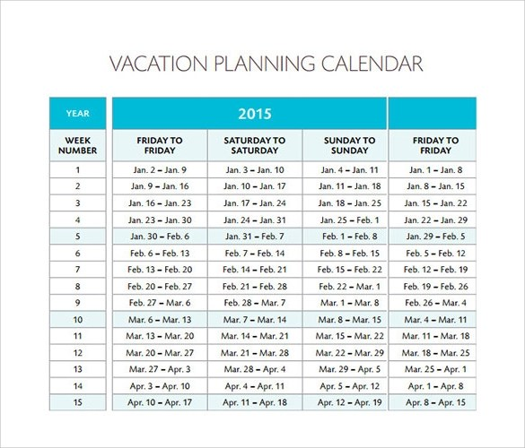 Sample Employee Vacation Planner – Sample Vacation Calendar