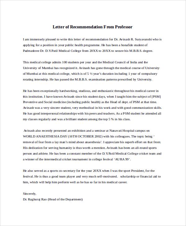 sample recommendation letter for job from professor