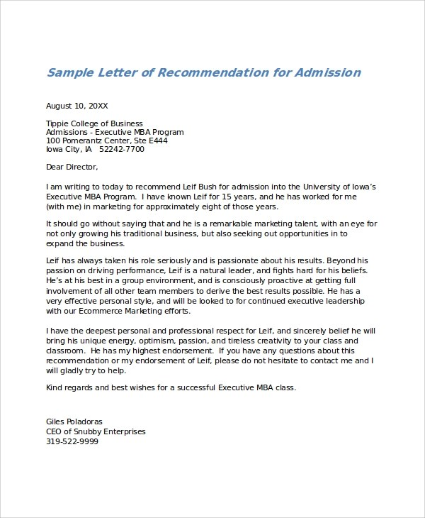 samples letter of recommendation - Jolivibramusic