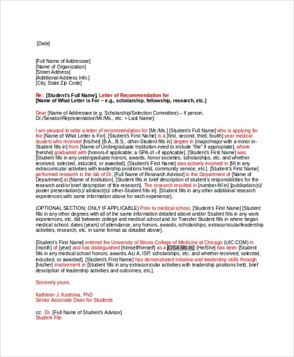 Sample Letter of Recommendation - 23+ Free Documents in Doc - letters of recommendation for scholarship