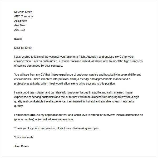 How To Email A Resume And Cover Letter Attachment Sample Flight Attendant Cover Letter 6 Free Documents