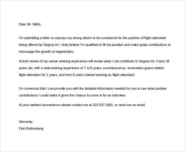 Sample Flight Attendant Cover Letter - 6+ Free Documents in PDF, Word - cover letter fill in