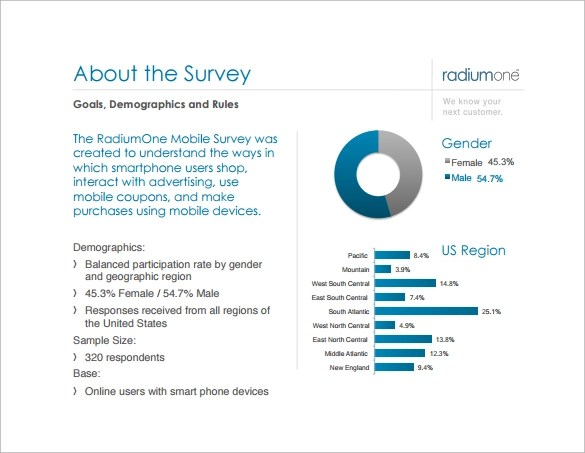 Demographic Survey Template Mobile Marketing Survey Report - free survey templates