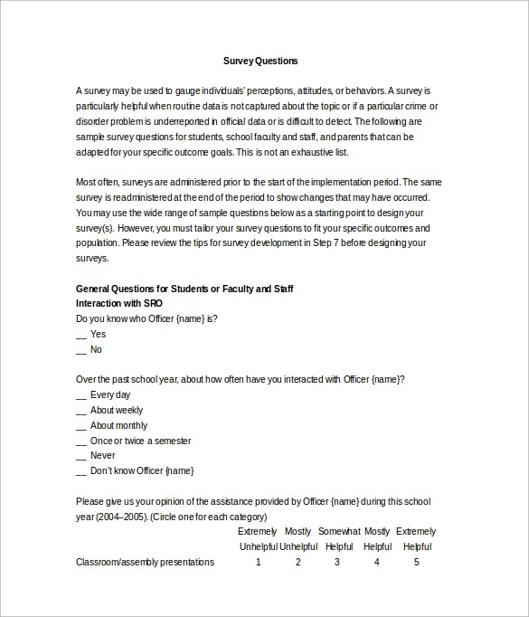 word questionnaire template - gse.bookbinder.co, Presentation templates
