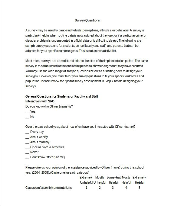 word survey template