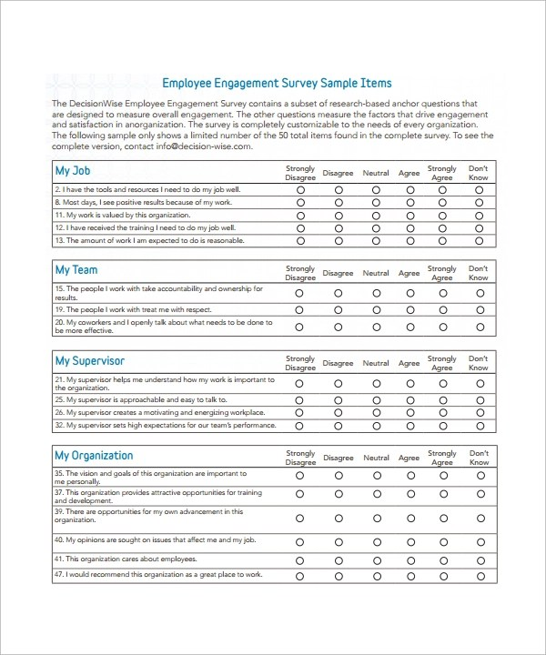 Sample Employee Feedback Survey Sample Employee Surveys Sample Engagement  Survey Employee Survey Template 7 Download Free