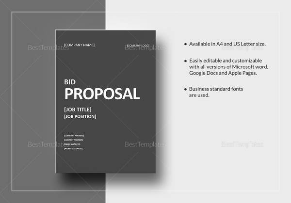 11+ Bid Proposal Samples Sample Templates - bid proposal template word