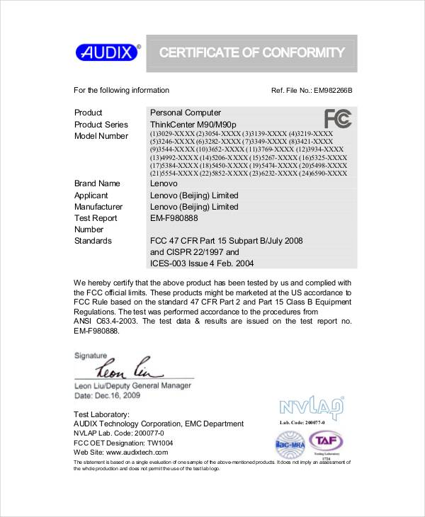 Sample Conformity Certificate Template - 15+ Documents in PDF, Word