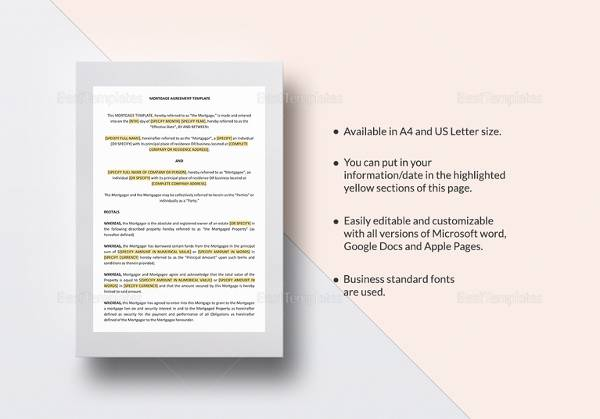 11+ Mortgage Agreement Templates Sample Templates