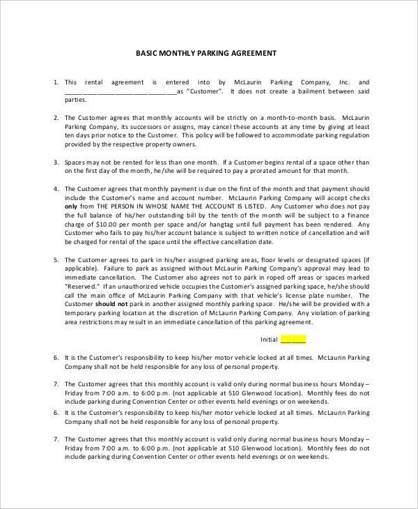 sample parking lease agreement cvessayoneprofessional - parking agreement template