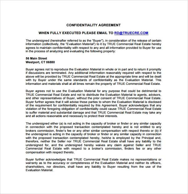 Sample Real Estate Confidentiality Agreement - 11+ Free Documents