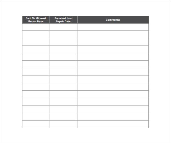 10 Repair Log Templates to Download Sample Templates