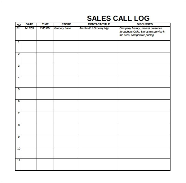 sales log template - Yenimescale