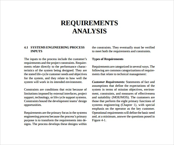 9 Requirement Analysis Templates to Download Sample Templates - requirement analysis template