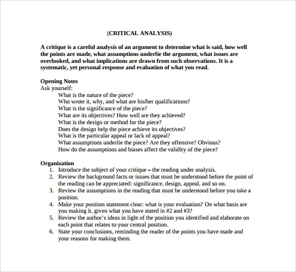 10 Critical Analysis Templates to Download Sample Templates - critical analysis