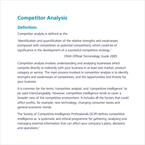 9 Competitor\u0027s Analysis Templates to Download Sample Templates