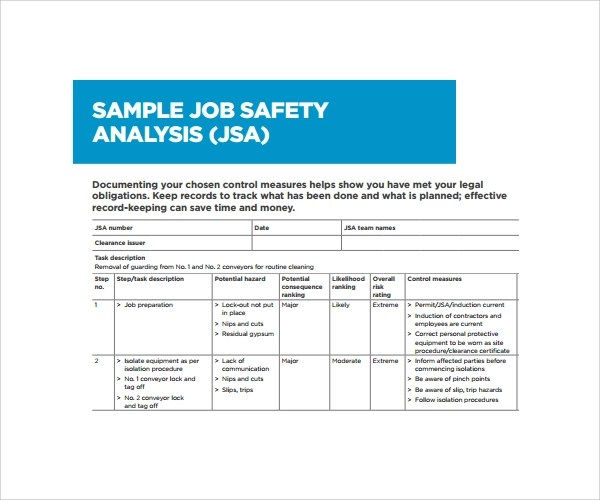 Jsa Form Template job safety analysis template - 28 images - job