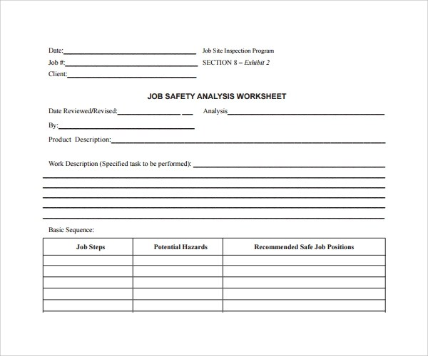 Sample Job Safety Analysis Template - 6+ Free Documents in PDF - jsa form template