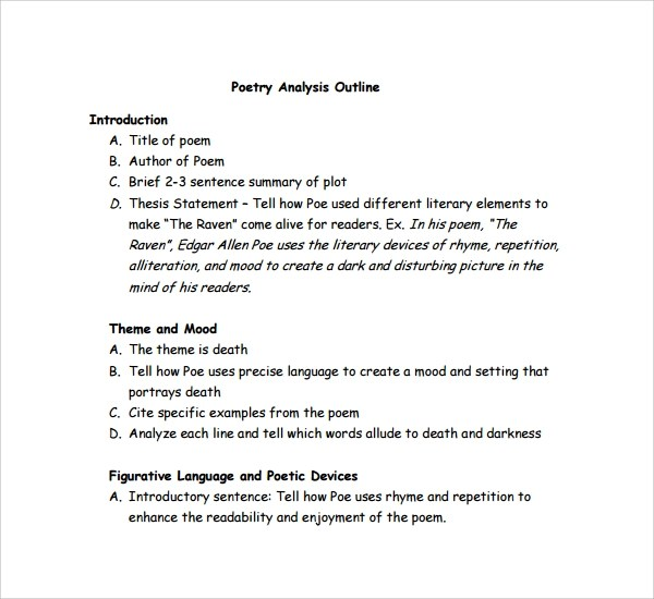 poetry analysis essay outline