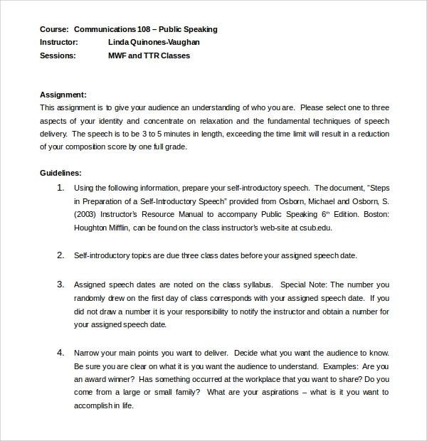 10+ Introductory Speech Examples Sample Templates - example of word