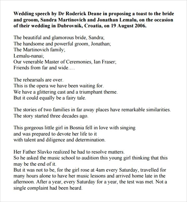 Amazing Wedding Speech Example Images  Best Resume Examples By