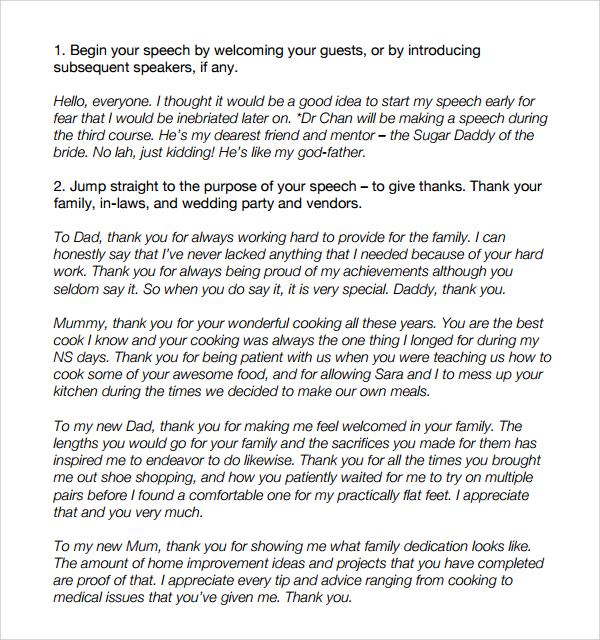 8+ Wedding Speech Examples - PDF