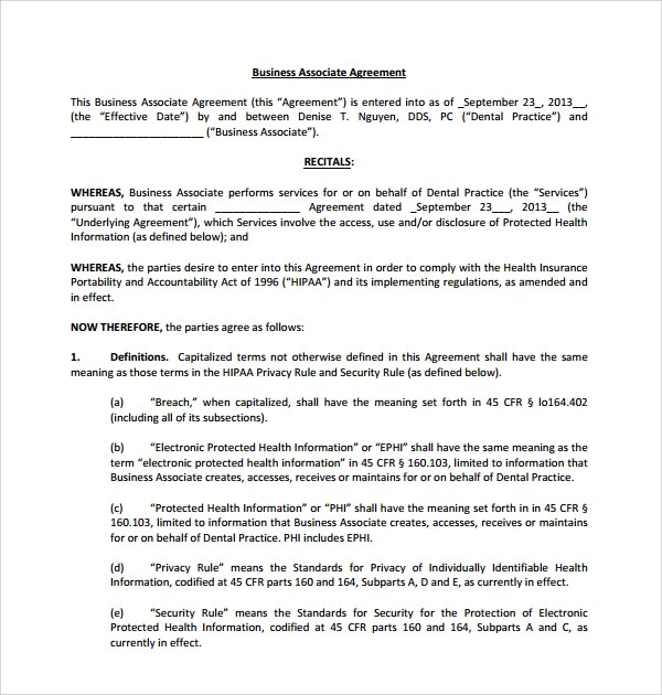 Business Associate Agreement Hipaa – Business Associate Agreement Template