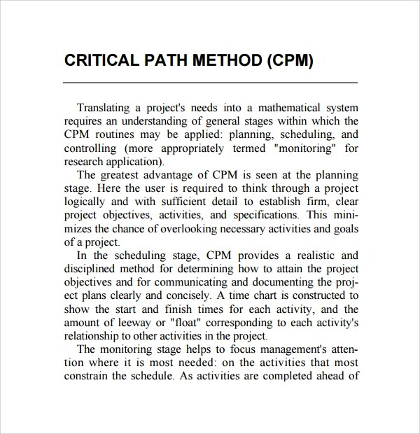 Sample Critical Path Method Template - 8+ Free Documents in PDF