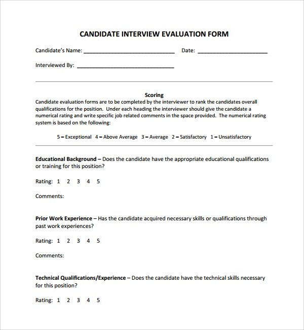 Sample Candidate Evaluation Form - 9+ Free Documents Download - evaluation form in word