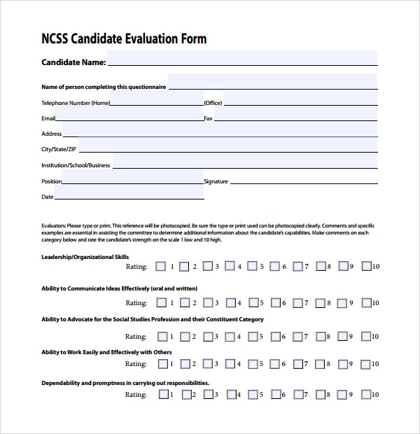 Sample Candidate Evaluation Form 9 Free Documents