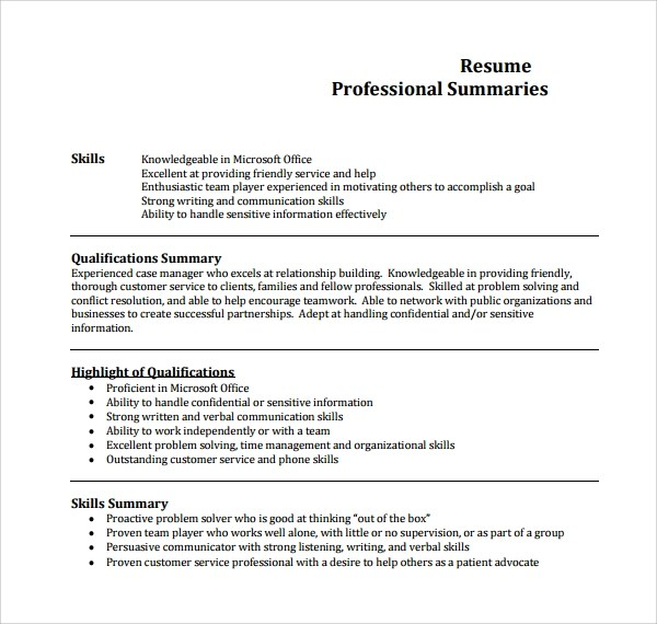 9 Professional Summary Templates to Download Sample Templates - professional synopsis for resume