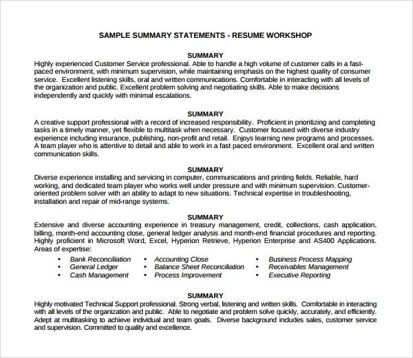 good professional summary for resumes