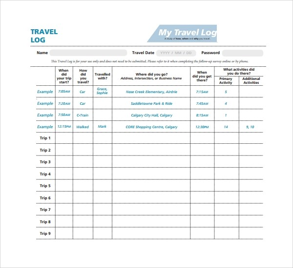 Wonderful Travel Logs Template Ideas  Example Resume Ideas
