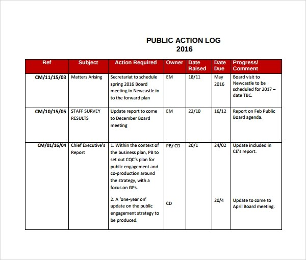 Sample Action Log Template - 8+ Free Documents in PDF - meeting planning template