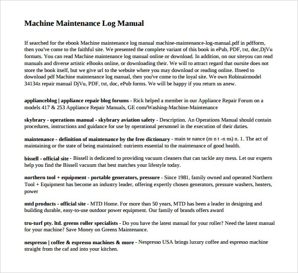 10 Maintenance Log Templates to Download Sample Templates - maintenance manual template