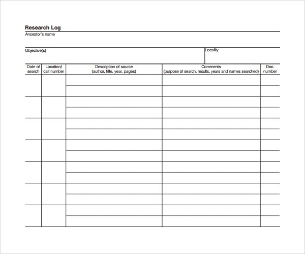 research log template - Selol-ink - sample research log template