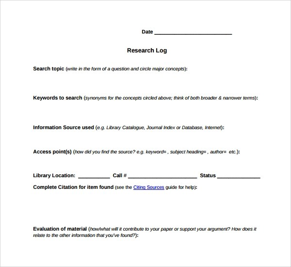 Sample Research Log Template - 8+ Free Documents in PDF, Word - how to create call log template