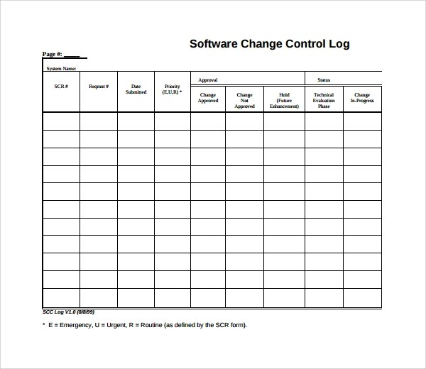 Sample Change Log Template - 6+ Free Documents in PDF - log template sample