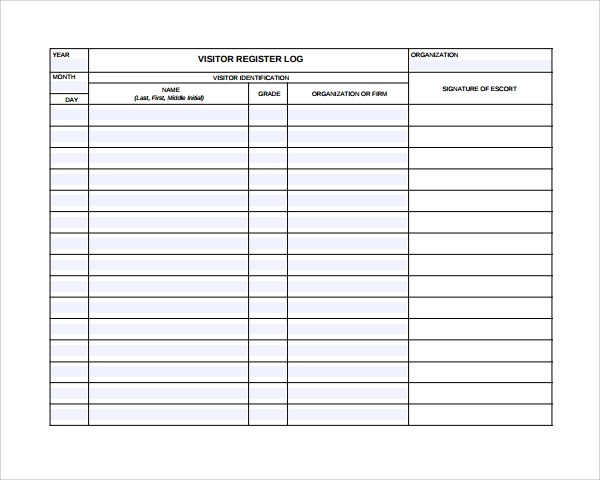 Sample Visitors Log Template - 9+ Free Documents in PDF, Word - log template sample