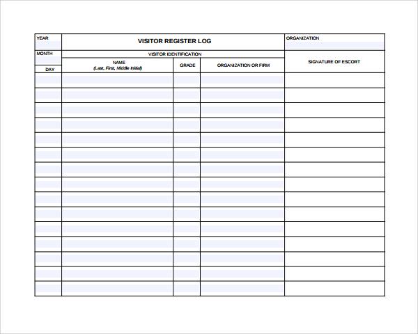 visitor register template