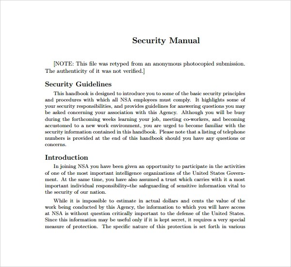 7+ Security Manual Templates Sample Templates